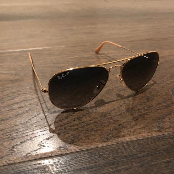 ray ban grey gradient polarized aviator sunglasses